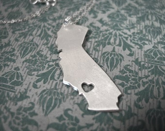 i heart California Necklace - Silver California State Necklace State Love Necklace State Pendant California With Heart Map Jewelry Republic