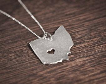 i heart Ohio State Necklace - Silver - I Heart Ohio Necklace Ohio Pendant State Necklace State Charm Map Necklace Map Jewelry Ohio Necklace