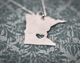 i heart Minnesota State Necklace - Sterling Silver - Custom Minnesota Necklace MN State Charm With Heart Personalized Heart Minnesota