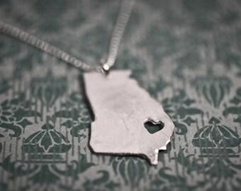 i heart Georgia State Necklace - Silver Georgia Necklace State Necklace GA State Charm Personalized State Necklace State Necklace With Heart