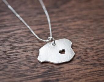 i heart Kauai Necklace - Silver - Hawaii State Necklace Hawaiian Island Necklace Kauai Island Necklace HI State Necklace With Heart Travel