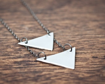 me and my arrow necklace - sterling silver arrow necklace - sterling silver triangle necklace - long triangle necklace - arrow necklace