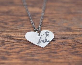 Dino Love - Heart Shaped Dinosaur Necklace Sterling Silver T-Rex Necklace, T Rex Necklace, Dino Necklace, Animal Necklace, Jurassic Necklace