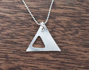 Tunnel Triangle Necklace - Triangle Necklace - Geometric Necklace - Bohemian Jewelry - Bohemian Necklace - Long Triangle Necklace