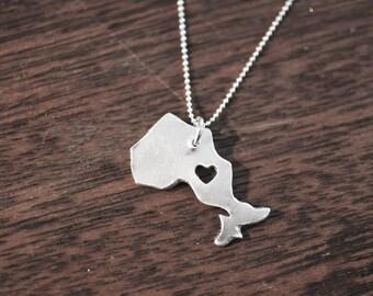 i heart Ontario Necklace Fine Silver Ontario Necklace Custom Heart Ontario Necklace Love Ontario Province Necklace Wedding
