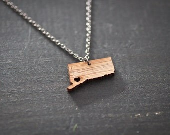 Connecticut Necklace - Bamboo - Connecticut State Necklace - Map Pendant State Necklace State Charm Map necklace Map Jewelry Wooden Necklace