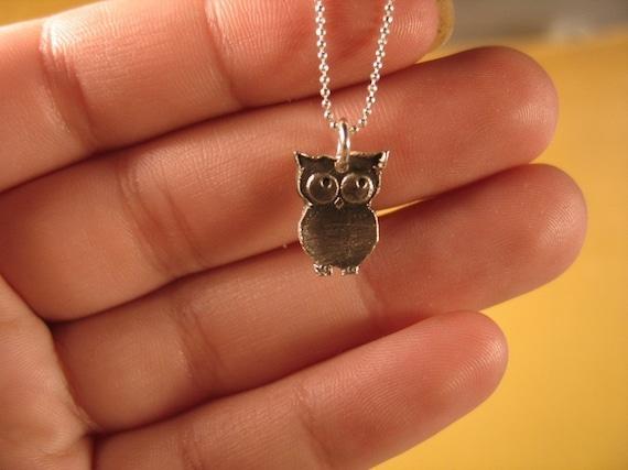 Tiny Baby Hoots - Funky Silver Owl Necklace, Tiny Owl Necklace, Dainty Necklace, Silver Bird Charm Necklace, Steampunk Silver Bird Necklace