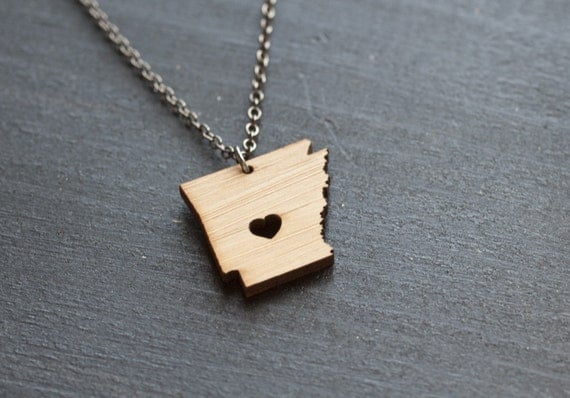 Wooden Arkansas Necklace - Bamboo - Arkansas State Necklace Little Rock Charm Personalized Arkansas State Jewelry With Heart