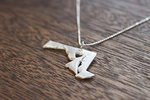 i heart Maryland State Necklace - Silver Maryland Necklace MD Pendant I Heart State Necklace State Charm Map Necklace USA Handmade Hand Cut