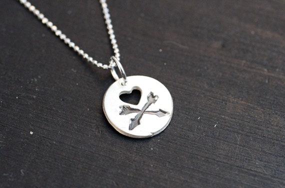 Teensy Tiny Skull and Crossbones Necklace Skull Crossbones Necklace Silver Heart Arrows
