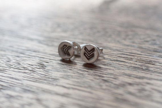 every day chevron earrings - silver chevron earrings - chevron earings - silver chevron earings - chevron studs - silver chevron studs