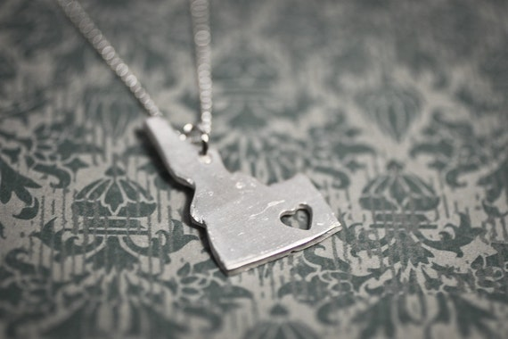 i heart Idaho Necklace - Silver Idaho State Necklace ID Charm State Love Pendant Personalized Idaho State Necklace With Heart Handmade