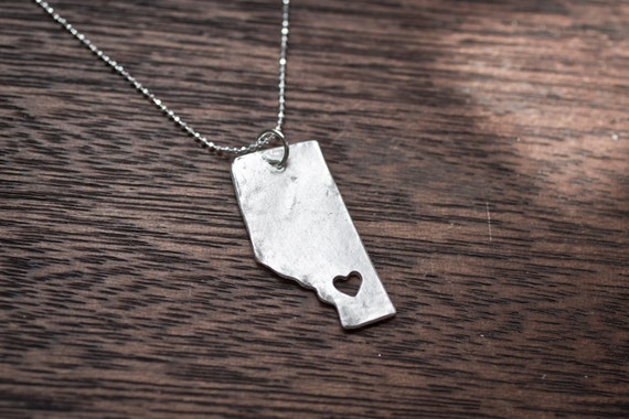 i heart Alberta Necklace - Silver - Alberta Pronvince Necklace AB Pendant With Personalized Heart Province Jewelry