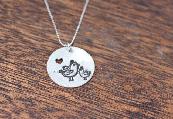 Momma and Baby Tweets - Bird Necklace, Bird Pendant, Sterling Silver, Mother Necklace, New Mom Necklace, Mother Daughter, Baby Shower Gift