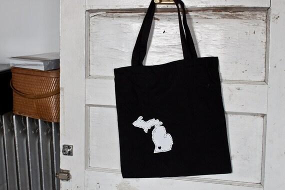I heart Michigan screenprinted tote bag.