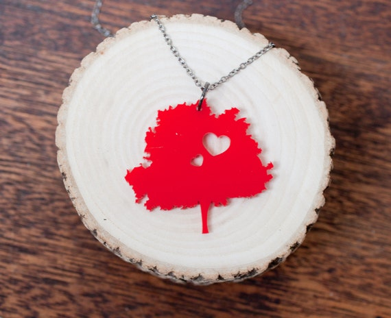 Momma Tree Mother Necklace - Red Acrylic Tree Necklace - Large Tree Necklace - Sterling Silver Tree of Life Jewelry - Charm - Pendant - Gift
