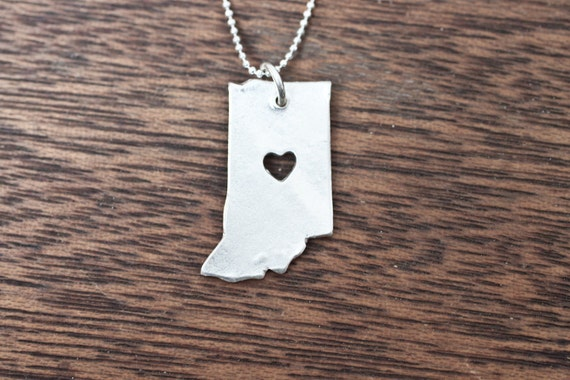 i heart Indiana State Necklace - Silver - Indiana Necklace - Sterling Silver - Hoosier Necklace Indianapolis IN State Charm IN State Pendant