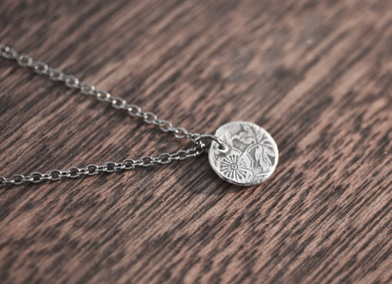 kigiku necklace - flower necklace - spoon necklace - leaf jewelry - leaf necklace - flower pendant - sterling silver flower pendant