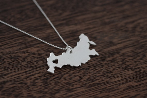 i heart Russia Necklace - Silver Russia Necklace Sterling Russia Charm Russian Jewelry Russia Map