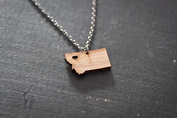 Montana State Necklace - Bamboo - Montana Necklace Map Jewelry State Outline Montana Jewelry Montana with Heart MT Charm Wooden