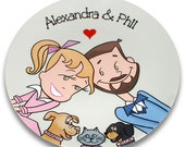 Custom Portrait Souvenir Plate - Starry Eyed Couple