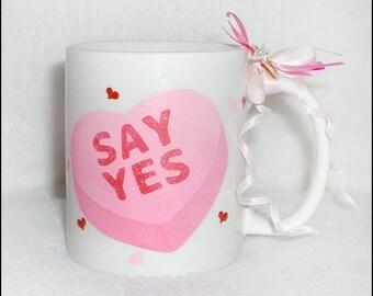 Candy Heart Marry Me Mug - Unique Wedding Proposal Idea