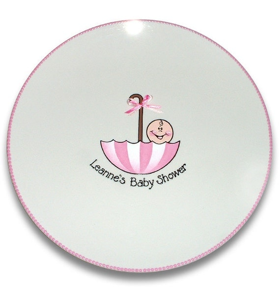 Umbrella baby shower personalized signature platter