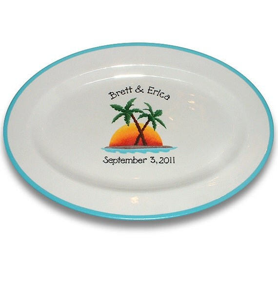 Palm Tree Wedding Guest Signature Platter