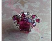 Fuchsia Cube Galaxy Ring made with Swarovski Crystals