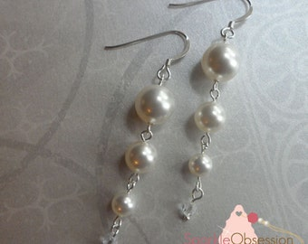 Swarovski Triple Pearl Earrings