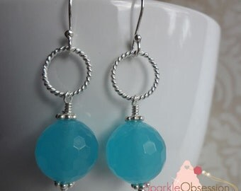 Sterling Silver and Blue Agate Earrings