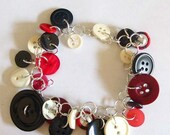 Red White and Black Button Bracelet