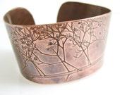 Tree Landscape, Handmade Copper Cuff Bracelet