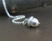 Tiny Sterling Acorn Necklace, Preserved Botanical Jewelry