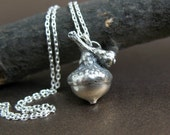 Sterling Acorn Necklace, Mother Daughter, Preserved Botanical Jewelry