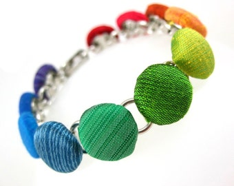 Rainbow Silk, Handmade Fabric Covered Button Bracelet