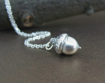 Tiny Sterling Acorn Necklace, Preserved Botanical Jewelry