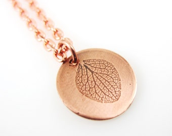 Pressed Hydrangea Petal,  Copper  Botanical Necklace