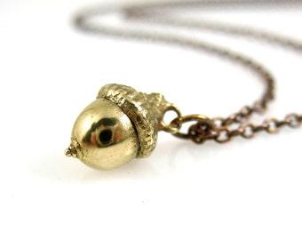 Small Bronze Acorn Necklace, Botanical Jewelry, Acorn Necklace