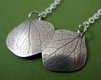Hydrangea Petal Necklace, Kissing Hydrangeas, Silver Botanical Necklace