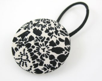 Japanese Fabric Button Hair Tie, Large Pony Tail Holder