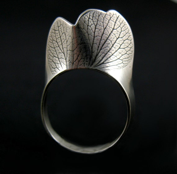 Hydrangea Petal Ring, Silver Peresrved Nature Jewelry, Size 8