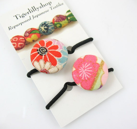 Japanese Fabric Button Hair Ties, Pony Tail Holders