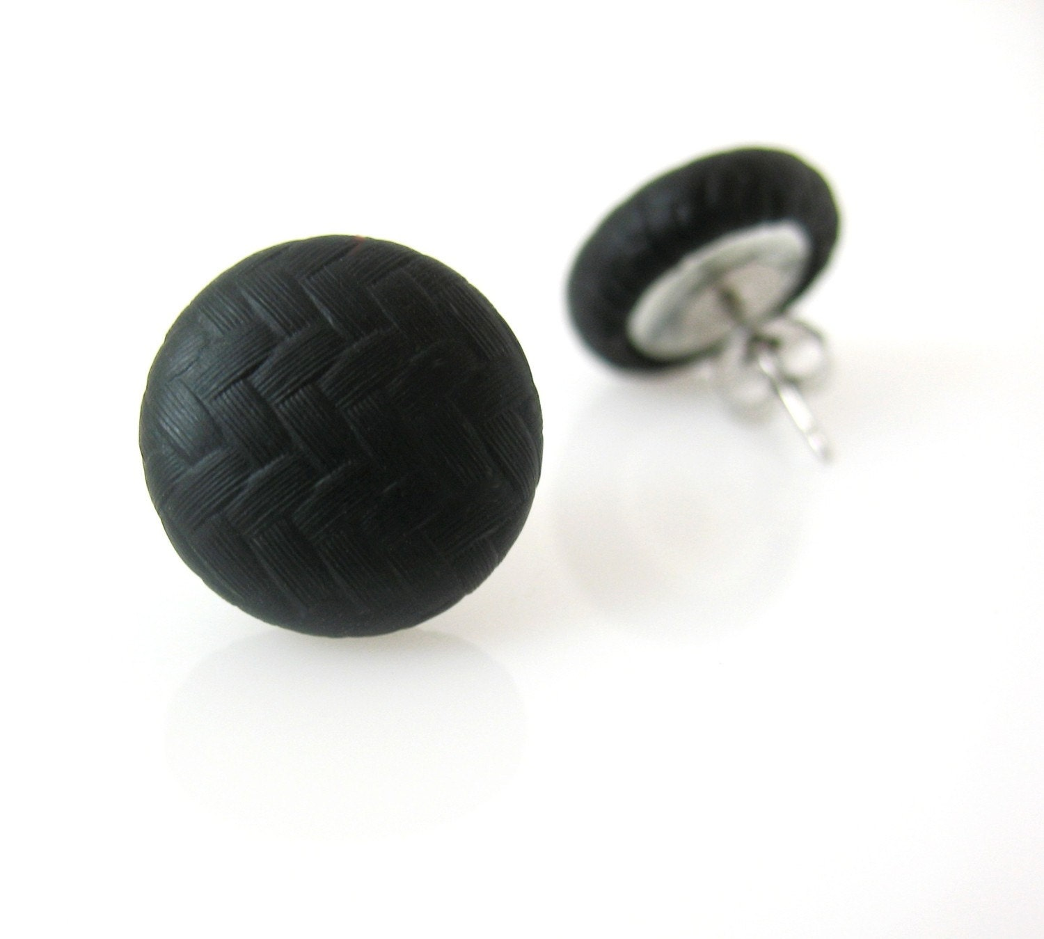 Button Earrings: Carbon Fiber Black Button Earrings Handmade Covered Buttons