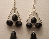 Black Glass and Sterling Chandelier Style Earrings