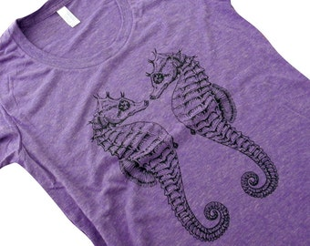 Seahorse T Shirt - Sea Horse Twins Ladies American Apparel Shirt - Available in sizes S, M, L, XL