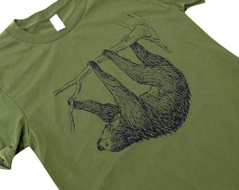 Womens SLOTH T Shirt - Sloth On A Tree Ladies American Apparel Shirt - (Available in sizes S, M, L, XL)