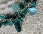 Aqua and Silver Beaded Charm Bracelet