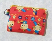 SALE Small Pouch, handmade, gift under 10, card case, - Usahana