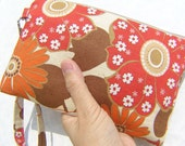 Wedding Clutch,2 pockets,medium,red,cotton,discount plan,wristlet,travel pouch,medium- - Big Red Flowers
